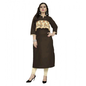 Generic Women's Kurtis With Heavy Slub Cotton Casual (Color:Brown,Sleeve: 3/4 Sleeve)