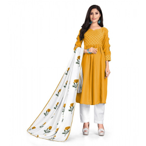 Generic Women's Kurtis With Heavy Cotton Embroidery work ,Pant&Dupatta Set(Color:Musterd,Sleeve:3/4 Sleeve)