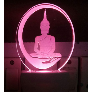 Generic Multicolor God Gautama Buddha Night Lamp (Screwless)