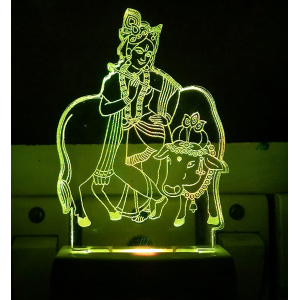 Generic Multicolor Krishna With Cow Night Lamp (Screwless)