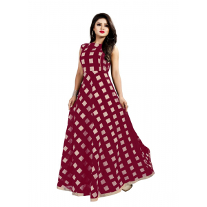 Generic Women's Modal Chanderi Full Length Gown (Brown)