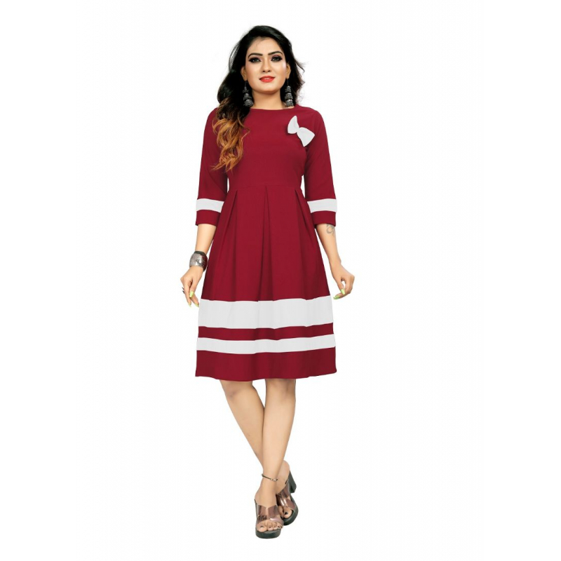 Generic Women's 95% Polyster + 5% Spendex  Short Gown (Maroon White)