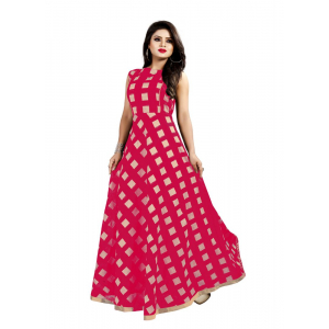 Generic Women's Modal Chanderi Full Length Gown (Pink)