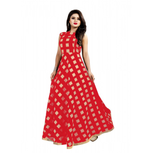 Generic Women's Modal Chanderi Full Length Gown (Red)