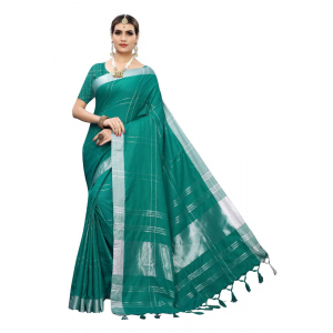 Generic Women's Cotton Blend Saree(Light Green,5-6 Mtrs)