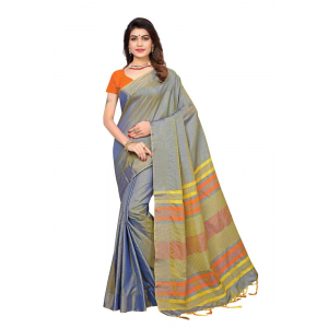 Generic Women's Silk Blend Saree(Grey,5-6 Mtrs)
