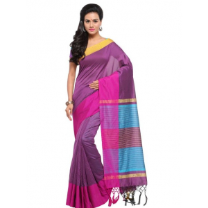 Generic Women's Silk Blend Saree(Purple,5-6 Mtrs)