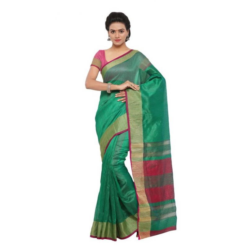Generic Women's Tussar Silk Saree(Green,5-6 Mtrs)
