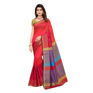 Generic Women's Silk Blend Saree(Maroon,5-6 Mtrs)