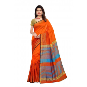 Generic Women's Silk Blend Saree(Red,5-6 Mtrs)