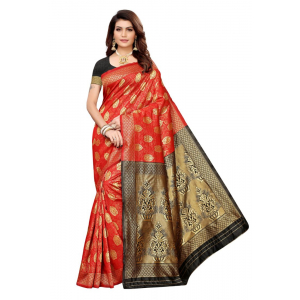 Generic Women's Jacquard Saree(Orange,5-6 Mtrs)