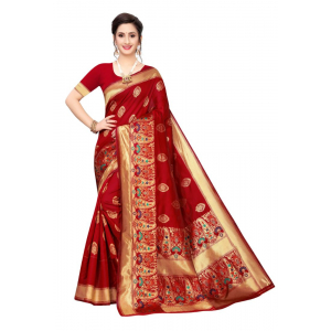 Generic Women's Jacquard Saree(Red,5-6 Mtrs)