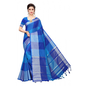 Generic Women's Cotton Blend Saree(Blue,5-6 Mtrs)