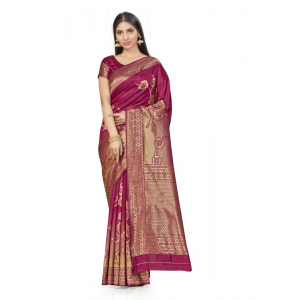 Generic Women's Banarasi Silk Saree (Wine,5-6 Mtrs)