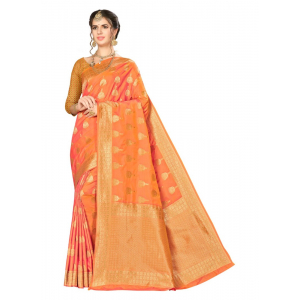 Generic Women's Banarasi Silk Saree (Dirty Orange,5-6 Mtrs)