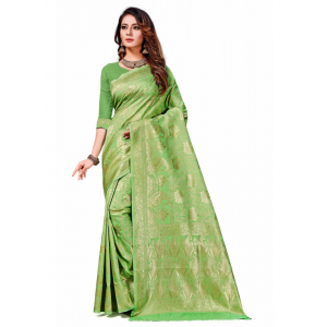 Generic Women's Banarasi Silk Saree (Light Green,5-6 Mtrs)