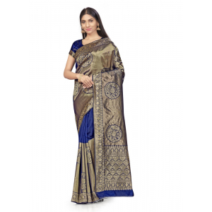 Generic Women's Banarasi Silk Saree (Navy Blue,5-6 Mtrs)