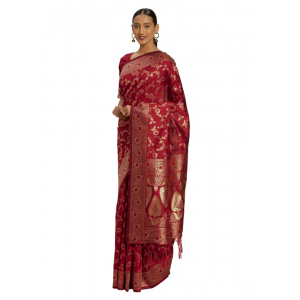 Generic Women's Banarasi Silk Saree (Red,5-6 Mtrs)
