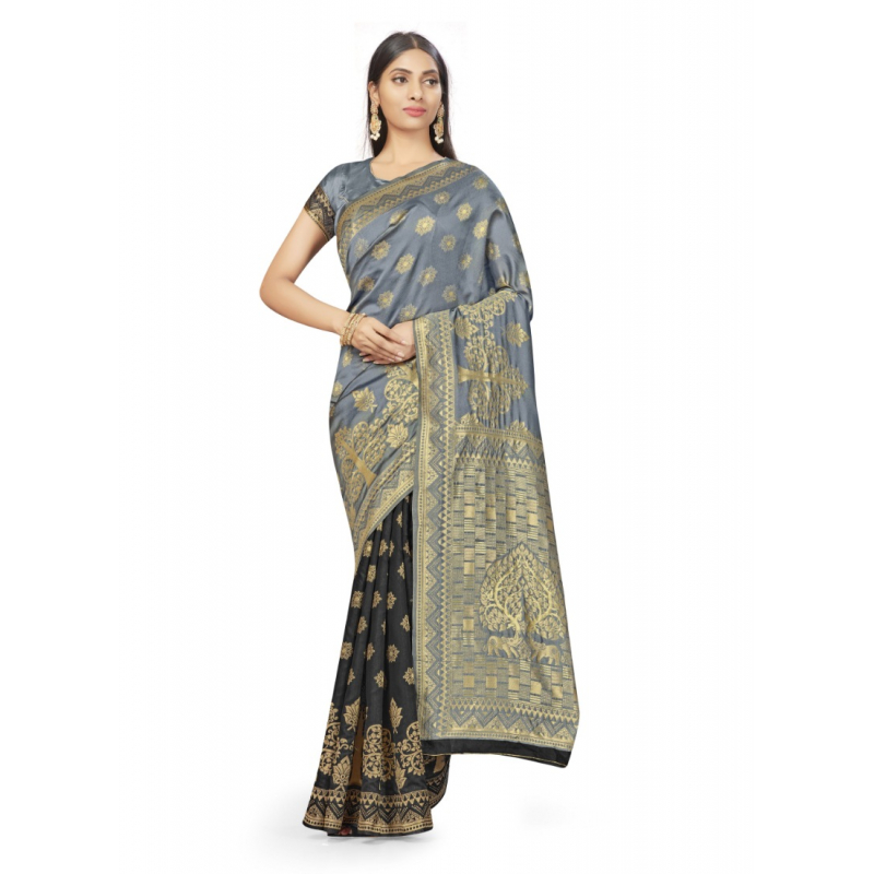 Generic Women's Banarasi Silk Saree (Grey,Black,5-6 Mtrs)