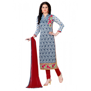 Generic Women's Cotton Salwar Material (Grey,2.3 Mtrs)