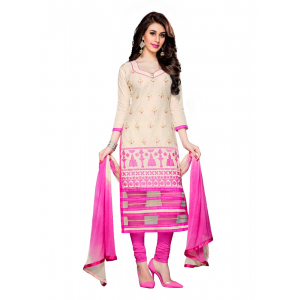 Generic Women's Cotton Salwar Material (Cream,2.3 Mtrs)
