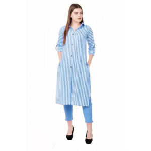 Generic Women's Cotton Three-Quarter Sleeves Kurta Sets(Blue)
