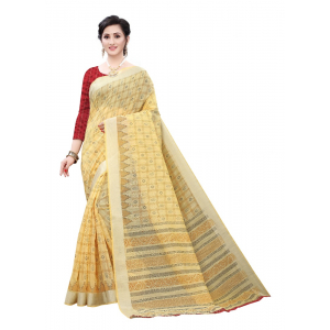 Generic Women's Cotton Saree (Yellow,5-6Mtrs)