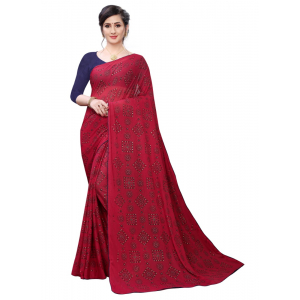 Generic Women's Lycra Blend Saree (Red, 5-6Mtrs)