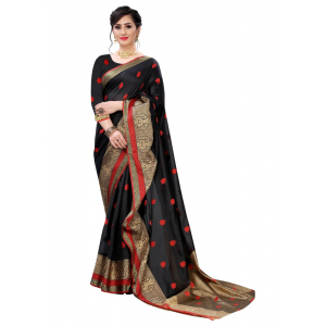 Generic Women's Art Silk Jacqaurd Saree (Black,5-6Mtrs)