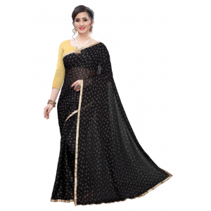 Generic Women's Lycra Blend Saree (Black,5-6Mtrs)