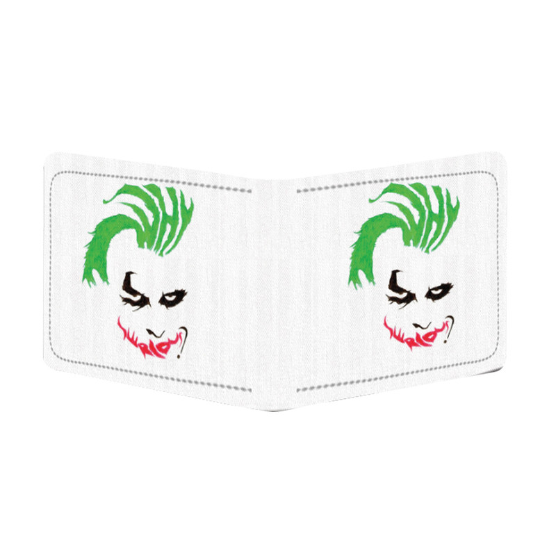 Generic Joker Design White Canvas, Artificial Leather Wallet
