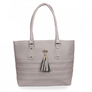 Generic Women's Faux Synthetic Leather Tote Bag (Grey)