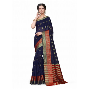 Generic Women's Cotton_Silk Saree (Navy Blue ,5-6Mtrs)