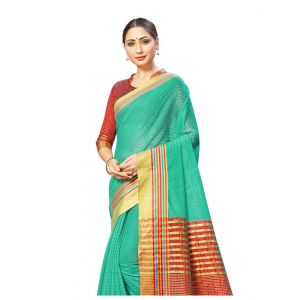 Generic Women's Cotton Silk  Sarees (Sea Green , 5-6Mtrs)