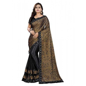 Generic Women's Lycra Blend Sarees (Black And Brown , 5-6Mtrs)