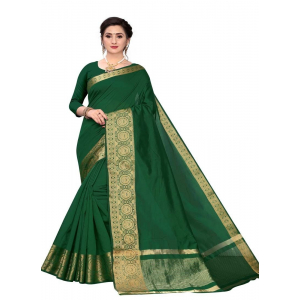 Generic Women's Cotton Blend Sarees (Dark Green , 5-6Mtrs)